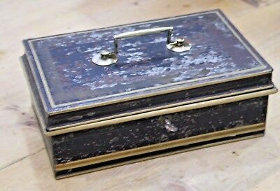 Old cash tin deed brass handle