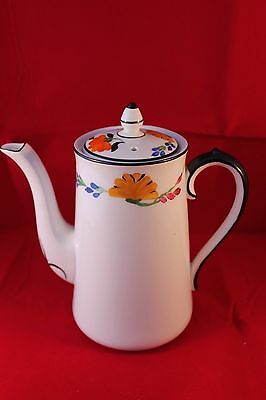 Hancocks China England Hand Painted Floral Coffee Pot 1930's Antique Art Deco