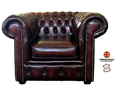 Chesterfield London Genuine Leather Club Chair Antique Vintage Style Oxblood Red