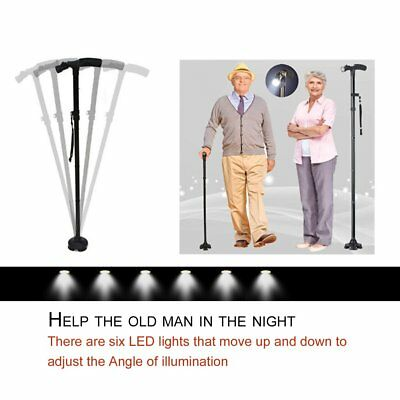 Magic Cane Folding LED Light Safety Walking Stick For Old Man T Handlebar ~M