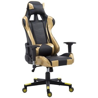 Office Golden High Back PU Leather Gaming Racing Chair Seat w/Lumbar Support