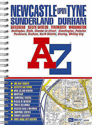 """VERY GOOD"" Newcastle upon Tyne Street Atlas (spiral), Geographers A-Z Map Compa"