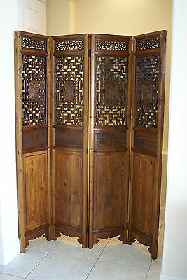 Qing Antique Chinese Screen Wood Carved Camphor Divider Zhejiang