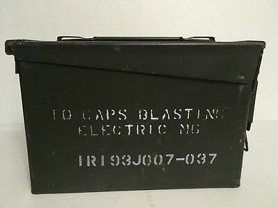 Ammo Can Box US Army Military Ammunition Metal Storage 10 CAPS BLASTING