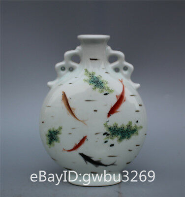 Collection Old Chinese Famille Rose Porcelain Hand-painting Fish Vase