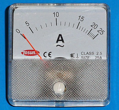 Ammeter 0 to 25 Amp, Panel Mount  PM0025A-AC