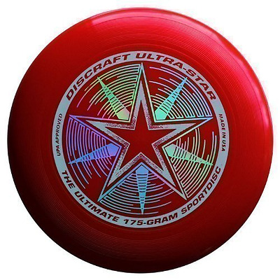 """FRISBEE OUTDOOR Discraft Ultra-Star 175g Ultimate Frisbee """"Starburst"""" - rot"""