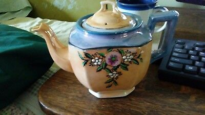 lusterware teapot , japan, blue and coral, floral motif