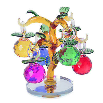 Multi Color and Yellow Glass Dangling Fruits Tree Crystal Figurine (2.36x1.57 in