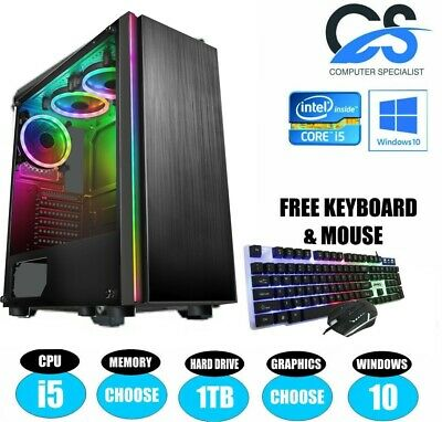 ULTRA FAST i5 Desktop Gaming Computer PC 1TB 16GB RAM GTX 1050 Windows 10