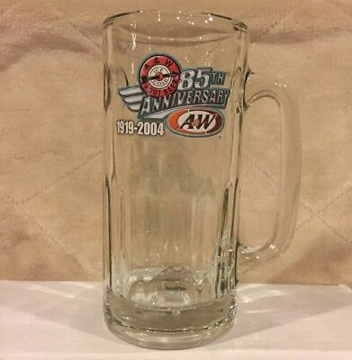 """7"""" Tall 2004 A&W 85th Anniversary Root Beer Glass Mug Cup Stein A & W AW Arrow"""