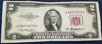 1953 A Us $2 Dollar Red Seal Note A56976678A