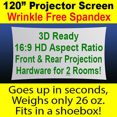 """120"""" (10') Portable Outdoor Spandex Projector Screen - Front & Rear Projection"""
