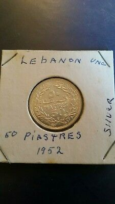 1952 LEBANON 50 PIASTRES - AU - Great Low Mintage Silver Coin