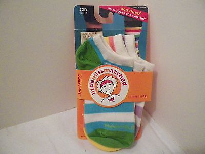 Little Mis Match Socks Set Of 3 Mis Matched Socks, Free Usa Shipping Ages 4-9