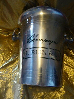 VOGALU Champagne / Ice bucket ' H.BLIN & Co.' silver metal 20 cm tall