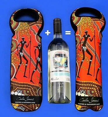 Bunabiri Hunters N Gatherers Land Neoprene Wine Bottle Carry Case  Bunbabiri