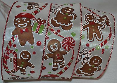 """Wired Ribbon~Christmas Gingerbread Man~Tree~Candy Cane~Ivory~Holiday~2.5""""~Bow"""