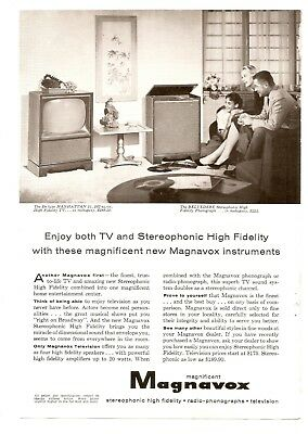 Orig. 1958 Full-Page Magazine Ad, Magnavox Television and Hi Fi, 7 x 10 in.