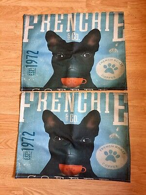 French Bulldog Placemats Coffee Theme