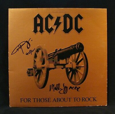 AC/DC-Autographed FOR THOSE ABOUT TO ROCK Album By ANGUS YOUNG & MALCOLM YOUNG