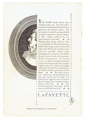 Orig. 1921 Full-Page Magazine Ad, Lafayette Motor Co., Good Shape, 7 x 10 in.