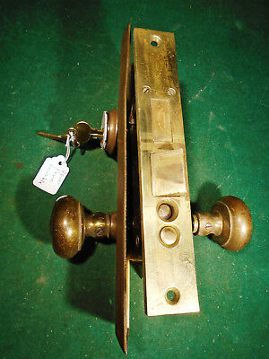 VINTAGE PENN HDW BRASS ENTRY MORTISE LOCK SET w/ KEYS & BACKPLATES! (9600)