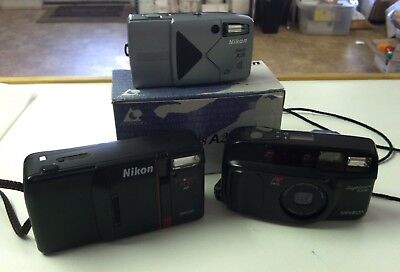 Vintage Retro Camera Lot Nikon Nuvis A20 Tele Touch 300AF Minolta Sightseer Zoom
