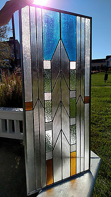 """METROPOLIS Stained Glass Window Panel by Adair Glass Design 15 1/4"""" x 33 5/8"""""""