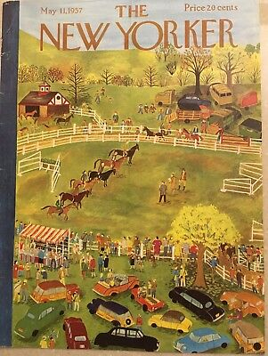 COVER ONLY~  The New Yorker magazine ~May 11 1957 ~ KARASZ ~ Horse Show Old Cars