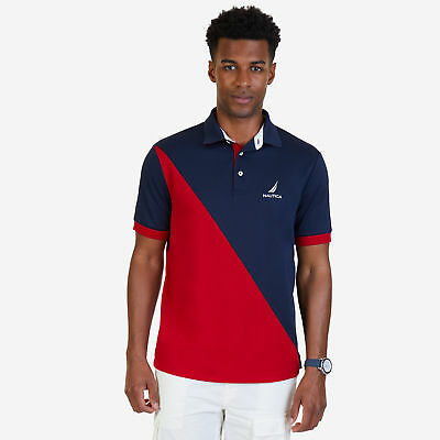 Nautica Mens Classic Fit Diagonal Color Blocked Performance Polo Shirt