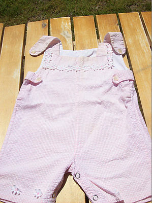 Vintage Baby Overalls Pink w/ Flowers