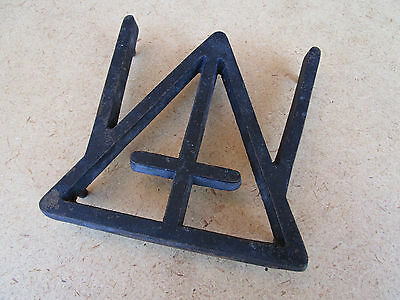 Vintage Cross Triangle Trivet Hot Pad 1952 Unique Rare Footed Wrought Iron