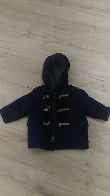 Blue winter duffle coat with toggles 12-18 months baby gap