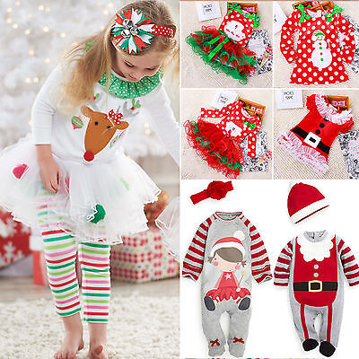 Christmas Toddler Baby Girls Boys Rompers Bodysuit Tutu Dress Clothes Outfit Set