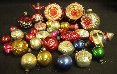 Huge Lot of Mixed Vintage Antique Glass Figural & Indent Christmas Ornaments
