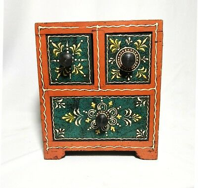 Wooden-Handcrafted-Hand-Painted-Embossed-Christmas-Drawer-Chest-Gift-Box-India