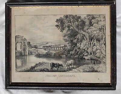 Italian Landscape Antique Framed Photo Published by Currier & Ives 152 Nassau NY