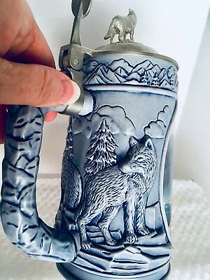 "Longton Crown "" Scouting the Bluffs""  Wolves tankard By Kevin Daniel"