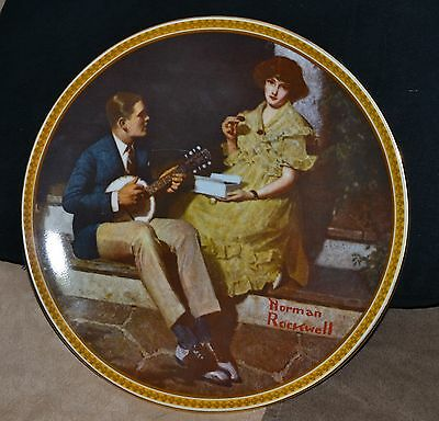 """Knowles Collectible Plate Norman Rockwell's """"pondering On The Porch"""""""