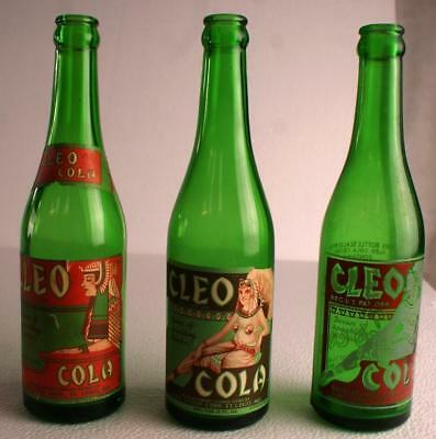 Cleo Cola Soda Bottles Lot Of 3 Different Rare Ones Excellent Condition Sodas
