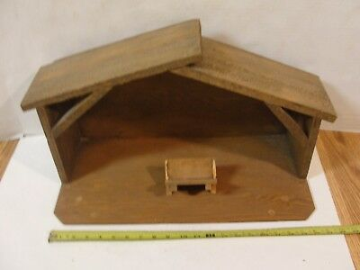 Vintage Wood Nativity Set Barn Shed w/Manger 21""