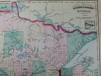 Minnesota huge state map 1872 old detailed Asher & Adams hand color