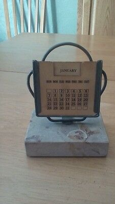 vintage calendar on marble base. Changeable Month and Day Cards