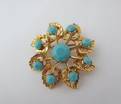 Vintage Jewellery Brooch Pin Glass Turquoise Gold Tone Floral Layered 1970s