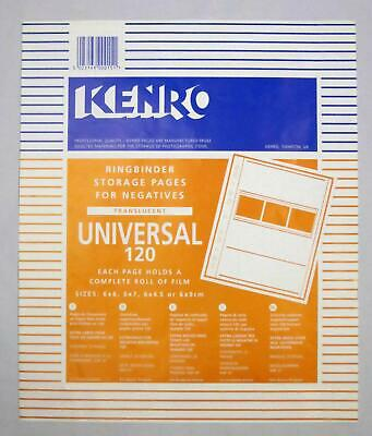 Kenro Negative File Storage Pages 120 Roll Film Translucent Page Pack of 25