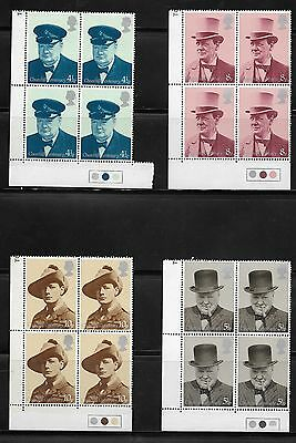 Gb Stamps 1974 Stamps Churchill Set Blocks Of 4 With Traffic Light Mint