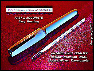 B - D  WALGREEN's SPECIAL Chicago IL.Oral Fever Thermometer Circa 1950's w/Case