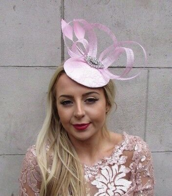 Light Baby Pink Silver Feather Pillbox Hat Fascinator Formal Ascot Races 4538