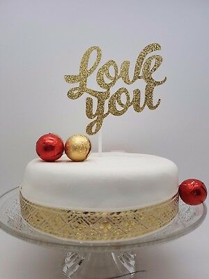 LOVE CAKE TOPPER DECORATION GOLD Birthday  Wedding Engagement Anniversary Party